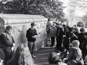 Students read prepared essays on men and women of courage buried in Arlington National Cemetary