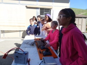 5th graders from Montair came to tool around in the Maker Studio, with the guidance of members of the Robotics team. Here they are driving Athenian's 2012 competition robot.